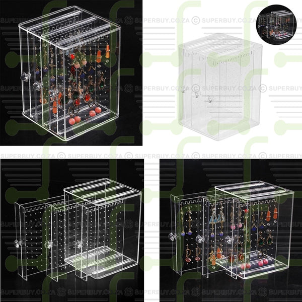Clear Acrylic Earrings Holder Jewellery Organiser Storage Case