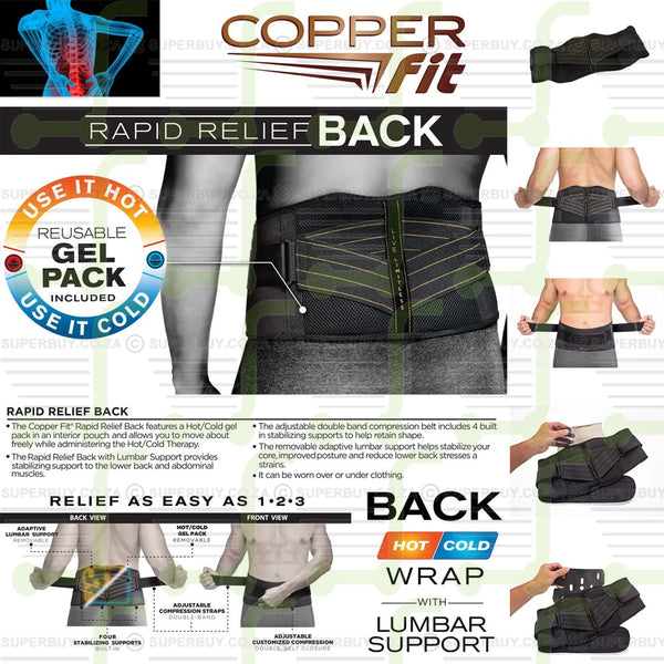 Copper Fit Rapid Relief Back Wrap with Lumbar Support & Hot/Cold Therapy Gel Pack
