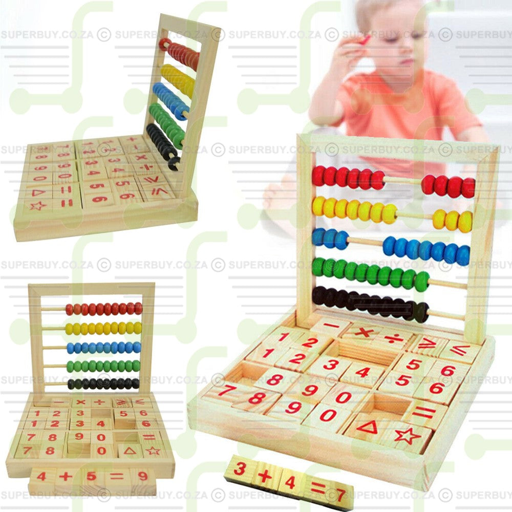 Wooden Abacus Maths Counting Frame with Number and Operation Signs Blocks