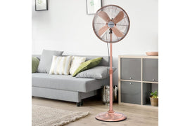 Devanti Metal Pedestal Fan Vintage Portable Fans Oscillating Tilt Chrome 3 Speed Copper - Terrific Buys