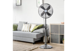 Devanti Metal Pedestal Fan Vintage Portable Fans Oscillating Tilt Chrome 3 Speed Black - Terrific Buys