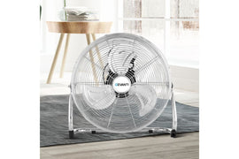Devanti Metal Floor Fan Desk Fans Chrome Portable 3 Speed Tilt Silver - Terrific Buys