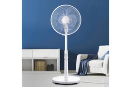 40cm Pedestal Fan DC Motor 9 Speeds Quiet Remote Control Sleep Mode Timer Home - Terrific Buys