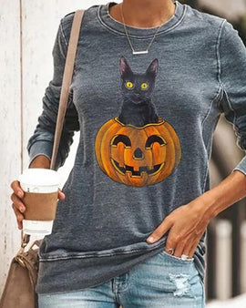 Halloween Pumpkin Head Smiley Cat Print Sweatshirt