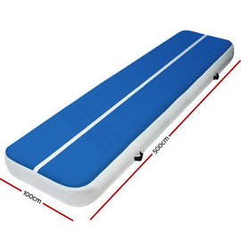 5m x 1m Inflatable Air Track Mat 20cm Thick Gymnastic Tumbling Blue And White