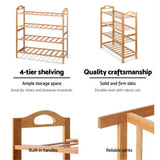 Artiss Bamboo Shoe Rack Organiser Wooden Stand Shelf 4 Tiers Shelves