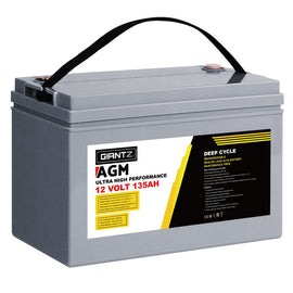 Giantz 135Ah Deep Cycle Battery 12V AGM Marine Sealed Power Portable Box Solar Caravan Camping