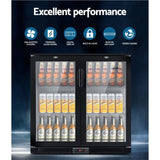 Devanti Bar Fridge 2 Glass Door Commercial Display Freeer Drink Beverage Cooler Black Terrific Buys