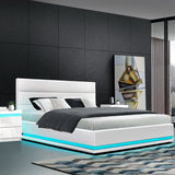 RGB LED Bed Frame King Size Gas Lift Base Storage White Leather LUMI
