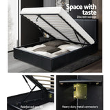 Artiss Double Size PU Leather and Wood Bed Frame Headborad - Black