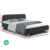 Artiss Queen Size Bed Frame Base Mattress Fabric Wooden Charcoal POLA