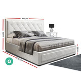 TIYO Queen Size Gas Lift Bed Frame Base With Storage Mattress White Leather
