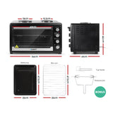 Devanti Electric Convection Oven Benchtop Rotisserie Grill 60L Hotplate Black - Terrific Buys