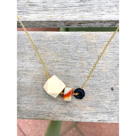 Wood, Flat Gemstone Bead and Black Onyx on Gold Chain