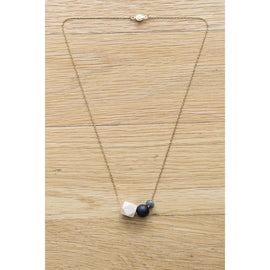 Wood, Black Agate and Gemstone Bead on Gold Chain