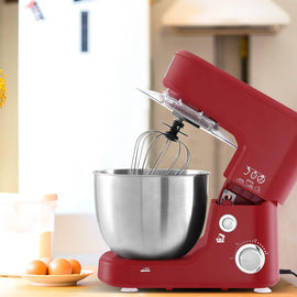 Devanti Electric Stand Mixer 1200W Kitche Beater Cake Aid Whisk Bowl Hook Red Terrific Buys