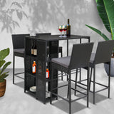 Outdoor Bar Set Table Stools Furniture Wicker 5PCS