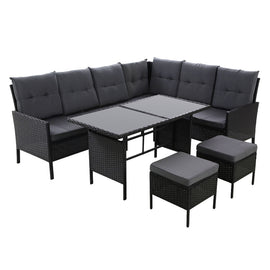 Outdoor Sofa Set Patio Furniture Lounge Setting Dining Chair Table Wicker Black