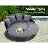 Outdoor Lounge Setting Patio Furniture Sofa Wicker Rattan Garden Chairs Black