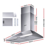 Devanti RangeHood 60cm 600mm Kitchen Canopy Stainless Steel Rangehood Wall Mount