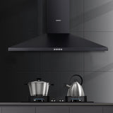 Devanti Rangehood 90cm 900mm Kitchen Canopy LED Light Wall Mount Black Terrific Buys