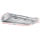 DEVANTI Fixed Rangehood Stainless Steel Kitchen Canopy 90cm 900mm