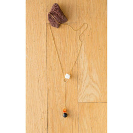 Wood, Black Agate and Carnelian Lariat Drop on Gold Chain - Terrific Buys
