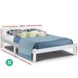 Artiss Double Full Size Wooden Bed Frame Mattress Base Timber Platform White