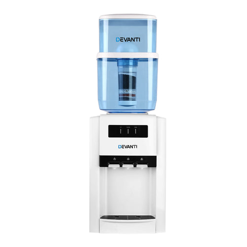 Devanti 22L Bench Top Water Cooler Dispenser Filter Purifier with Hot/ Cold/ Room Temperature Taps - Terrific Buys