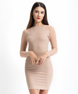 Solid Beige Mesh Dress