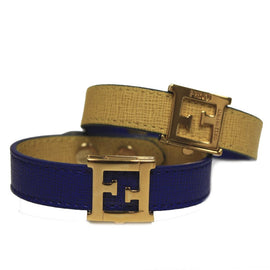 "Fendi ""Crayons"" Reversible Yellow/Blue Leather Bracelet"