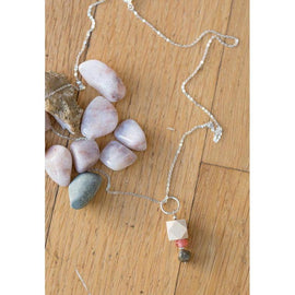 Wood, Druzy Pyrite & Gemstone Pendant on Silver Chain