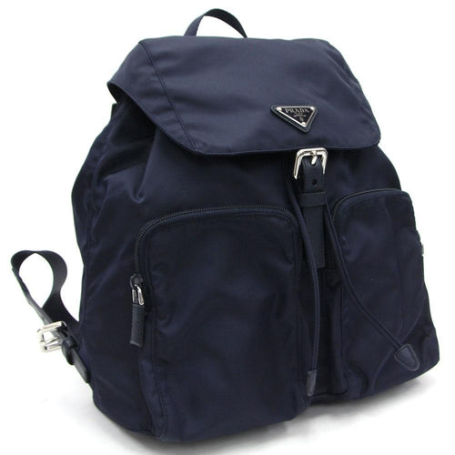 Prada Zainetto Unisex Navy Tessuto Nylon Backpack Rucksack Leather Trim