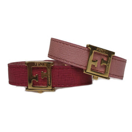 Fendi FF 'Crayons' Reversible Pink Rose Saffiano Leather Bracelet