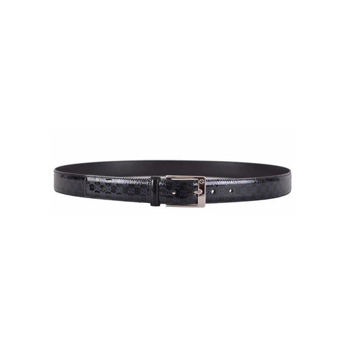 Gucci GG Dark Blue and Black Patent Leather Belt
