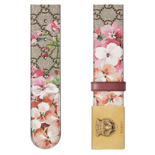 Women's Blooms Pink Leather Gold Lion Buckle Belt