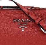 Prada Women's Red Vitello Phenix Leather Crossbody Handbag Bag