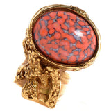 Saint Laurent Yves YSL Coral Red Glass Oval Ring