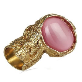 Saint Laurent Yves YSL Pink Glass Oval Ring Size: 5