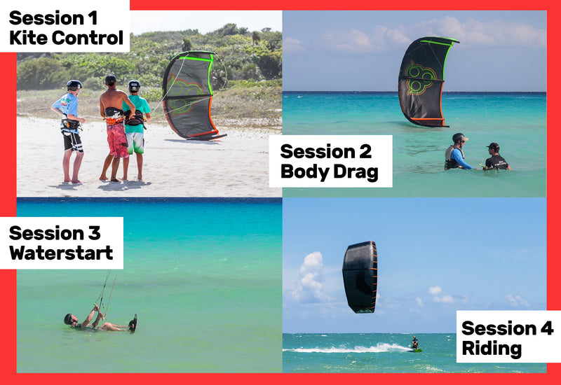 4 lesson kiteboarding progression