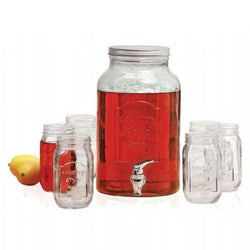 Avanti Glass Beverage Dispenser with 6 (470ml) Mason Jars - Modern Appliances