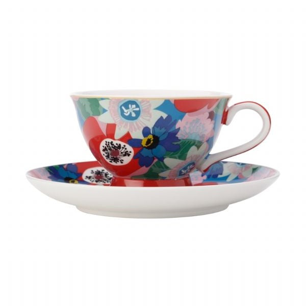 Maxwell Williams Teas & C's Glastonbury Footed Cup & Saucer 200ML Passion vine Blue - Modern Appliances
