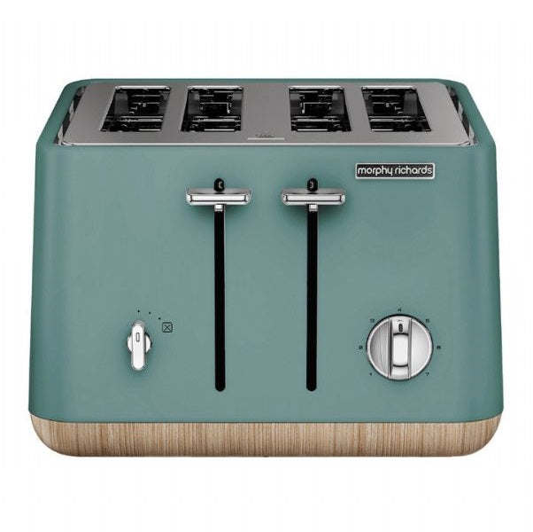 Morphy Richards Scandi Aspects Wood 4 Slice Toaster: Teal - Modern Appliances