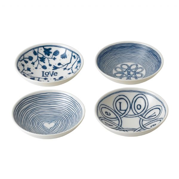 Royal Doulton ED Ellen DeGeneres Bowl 14cm Blue Love Set of 4 - Modern Appliances