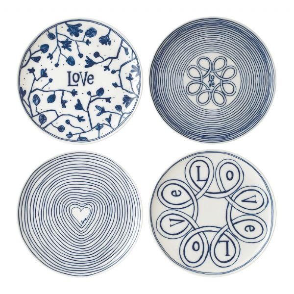 Royal Doulton ED Ellen DeGeneres Plate 21cm Blue Love Set of 4 - Modern Appliances