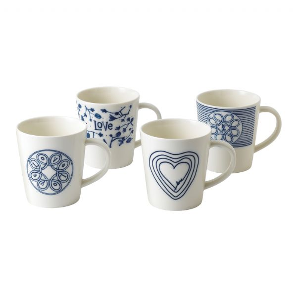 Royal Doulton Ellen DeGeneres - Blue Love Mugs Set of 4 - Modern Appliances