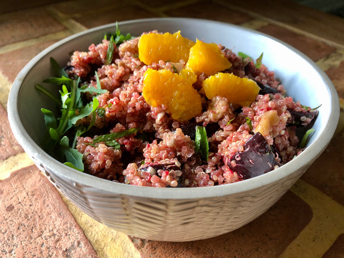Beetroot, quinoa & orange salad; fresh, tasty and it won't wilt in the fridge!