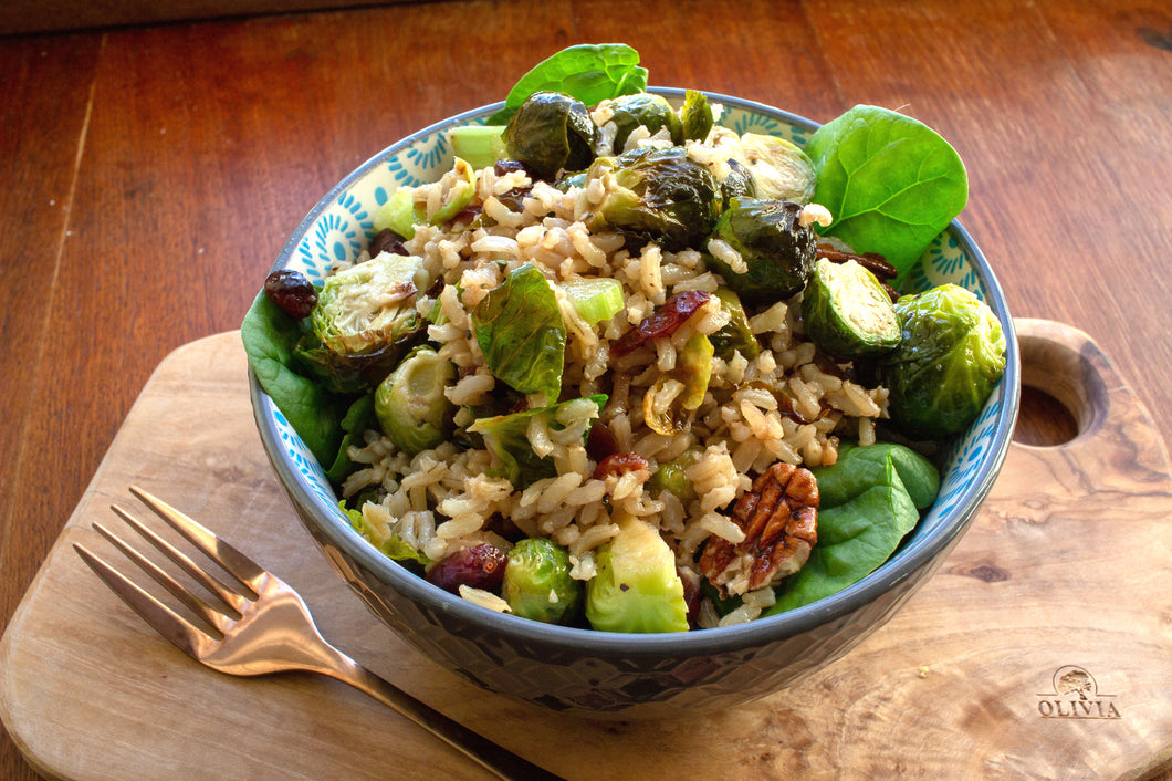 Wild rice and roasted sprout salad