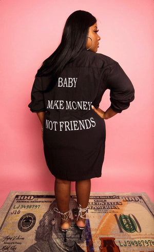 Money Baby Button Down Dress-Apparel-Different Type Of Dope