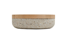 Load image into Gallery viewer, VVD pottery 30cm muschelkalk stone 7cm high/ lid 3cm oak